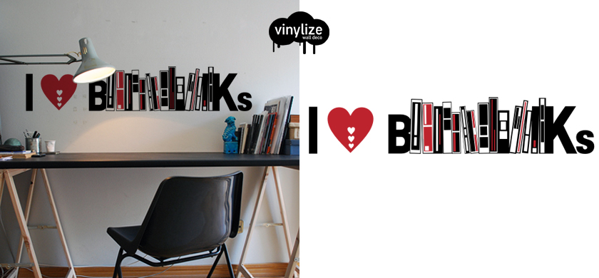 Vinylize Wall Deco - I Love Books - Wall Sticker