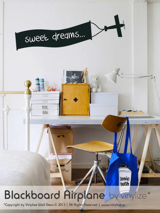 Blackboard Airplane a Wall Sticker by Vinylize Wall Deco