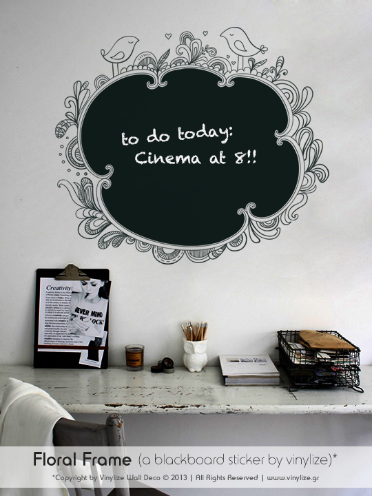 Blackboard Floral Frame a Wall Sticker by Vinylize Wall Deco