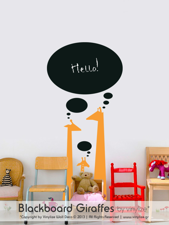 Blackboard Giraffes a Wall Sticker by Vinylize Wall Deco