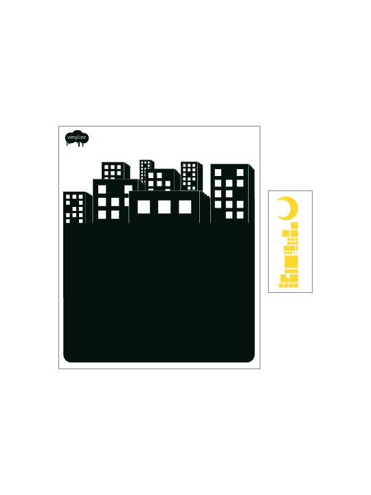 Blackboard City a Wall Sticker by Vinylize Wall Deco