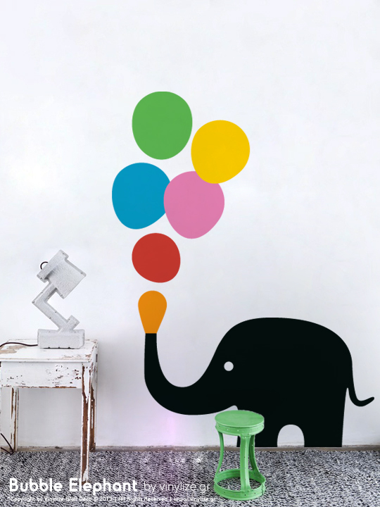 Vinylize Wall Deco - Bubble Elephant - Wall Sticker