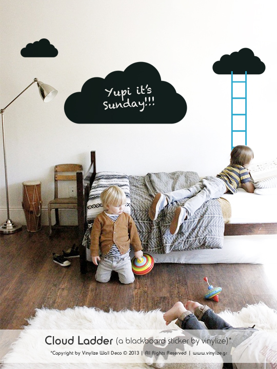 Blackboard Cloud Ladder a Wall Sticker by Vinylize Wall Deco