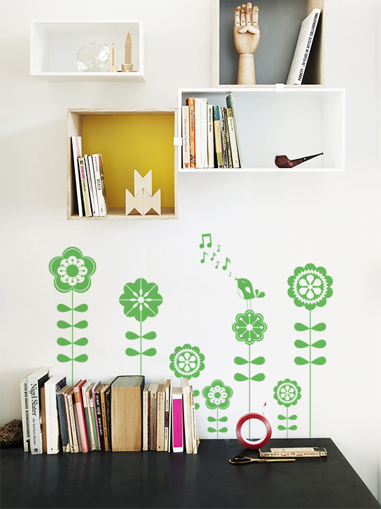 Mini Flower Bird a Wall Sticker by Vinylize Wall Deco