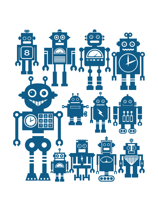Mini Robots #2 a Wall Sticker by Vinylize Wall Deco