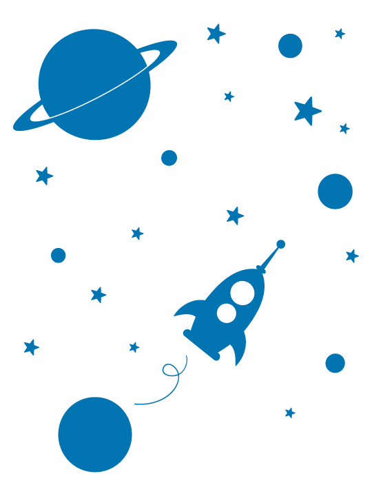 Mini Space Rocket a Wall Sticker by Vinylize Wall Deco