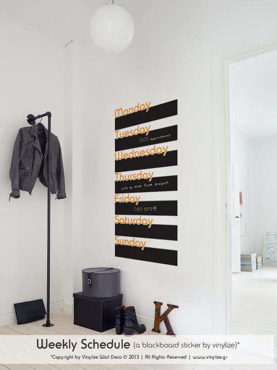 Blackboard Weekly Schedule a Wall Sticker by Vinylize Wall Deco