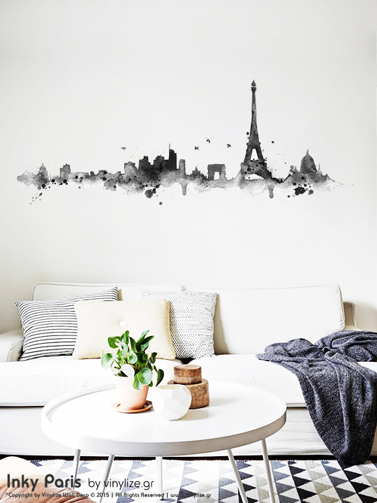 inky paris wall sticker by vinylize wall deco vinylize wall deco. Black Bedroom Furniture Sets. Home Design Ideas