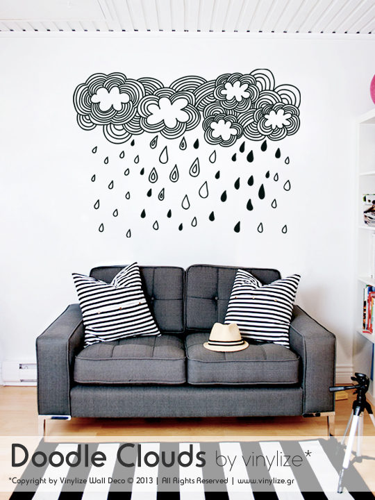 Vinylize Wall Deco - Doodle Clouds Wall Sticker