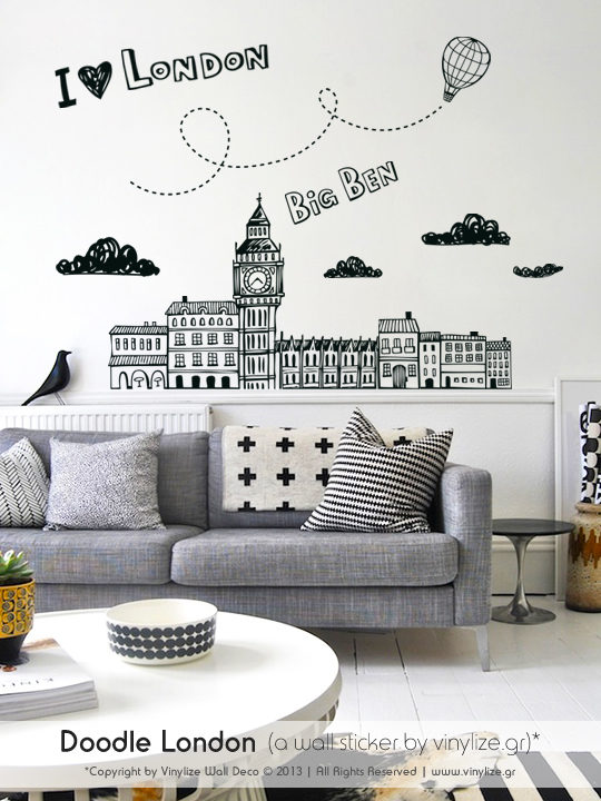 Doodle London a Wall Sticker by Vinylize Wall Deco